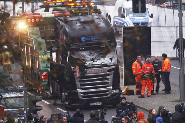 Smashed truck after the Berlin terror attack