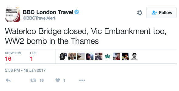 The bomb has closed Westminster and Waterloo Bridge