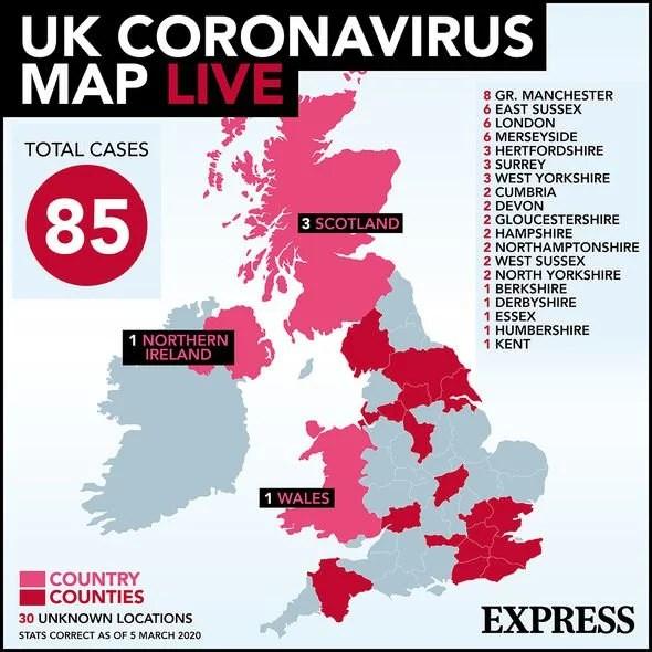 Coronavirus map LIVE: UK outbreak moves to 2nd phase of emergency ...