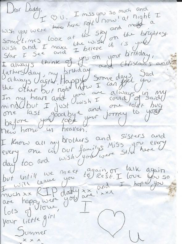 Letter from young girl to her dead father returned after