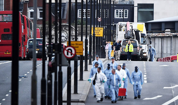 London terror attack: Forensic police on bridge