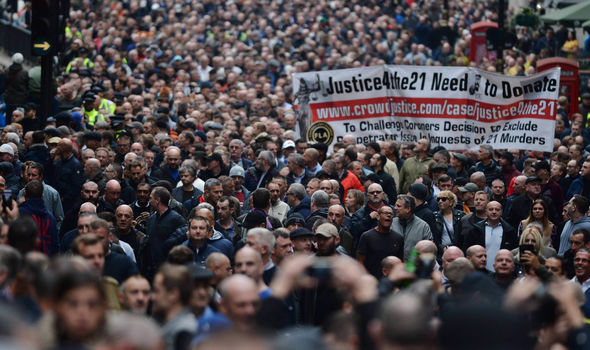 Thousands of protestors on Park Lane