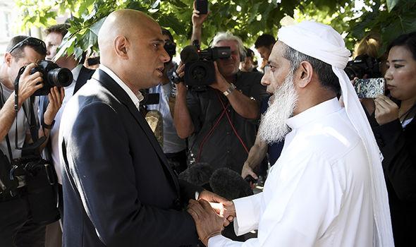 Sajid Javid speaks to Muslim man in Finsbury Park