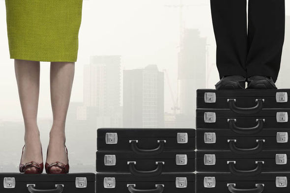 woman and man on briefcases