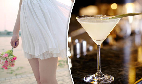 Girl in a skirt and a cocktail