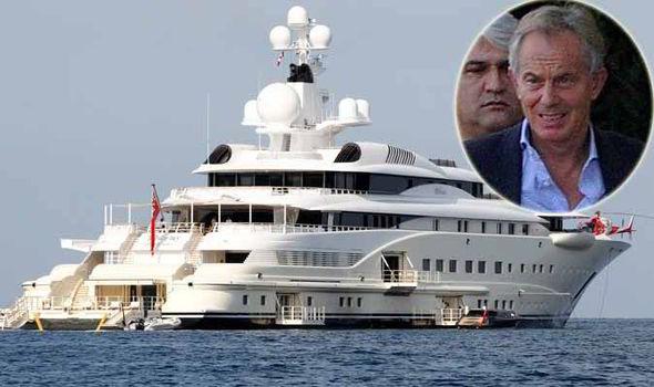Peace Envoy Tony Blair Arrives On Luxury Yacht In Sardinia