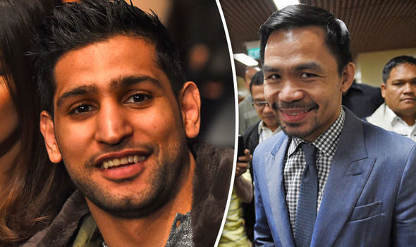 Boxers Amir Khan and Manny Pacquiao