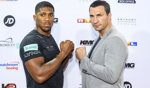 Boxers Anthony Joshua and Wladimir Klitschko