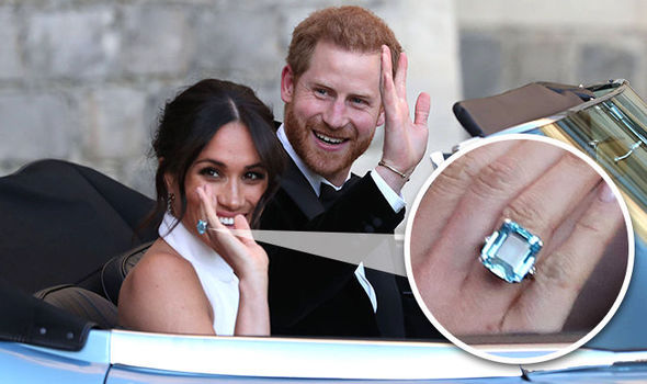 Image result for meghan and harry wedding party white dress aqua ring