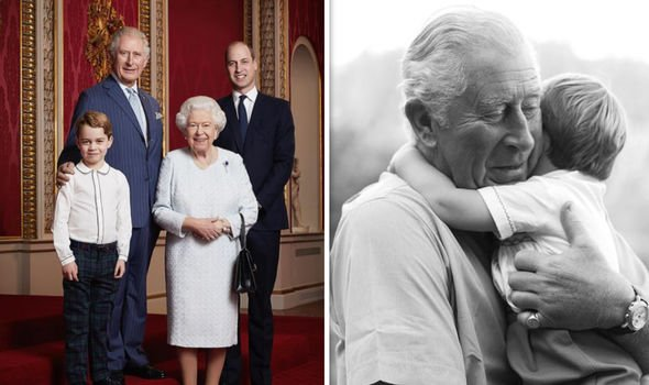 Charles with William, the Queen and George (R), Charles with Louis