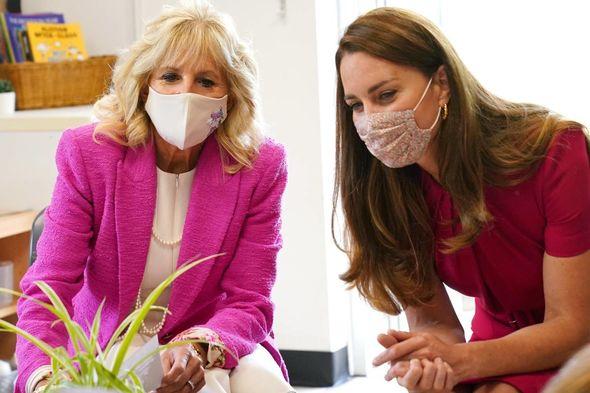 Kate also met Jill Biden earlier in the day in Cornwall