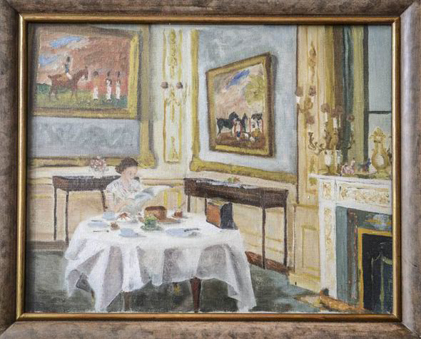 Prince Philips Study Of Queen Eating Breakfast At Windsor
