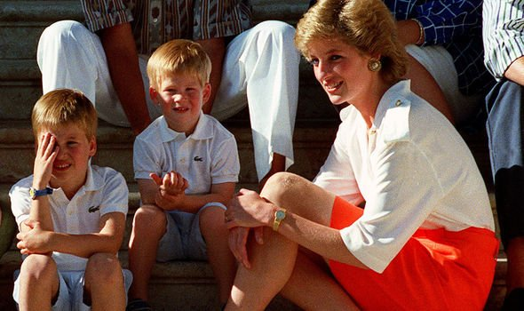 Princess Diana and Prince William and Harry
