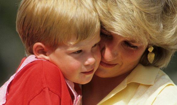Princess Diana with Prince Harry as a baby