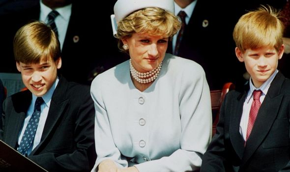 Princess Diana with her two sons Harry and William