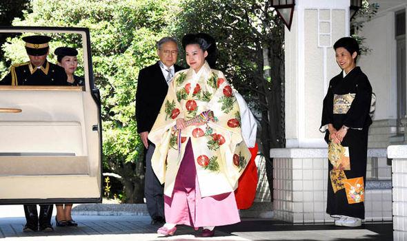 Princess Ayako leaving her her Japanese royal wedding