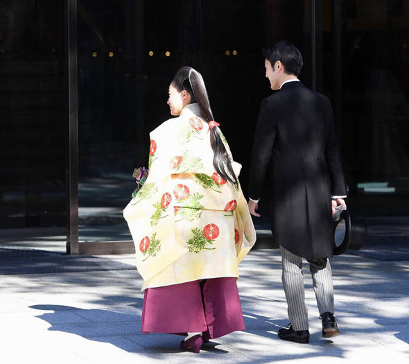 Princess Ayako with her hair in traditional Japanese style for the wedding