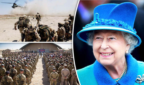 British soldiers and Queen