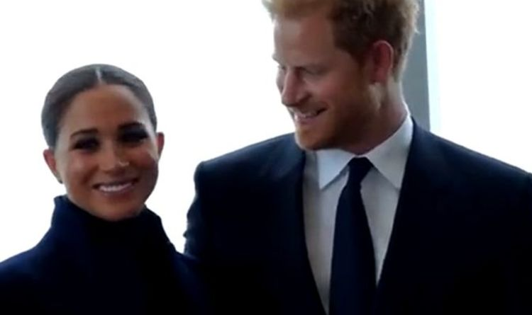 'Way Harry looks at Meghan...' Royal fan meltdown at Sussexes' New York visit