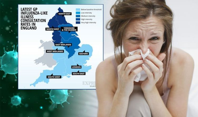 Flu map: Areas of England with most cases of flu - symptoms and ...
