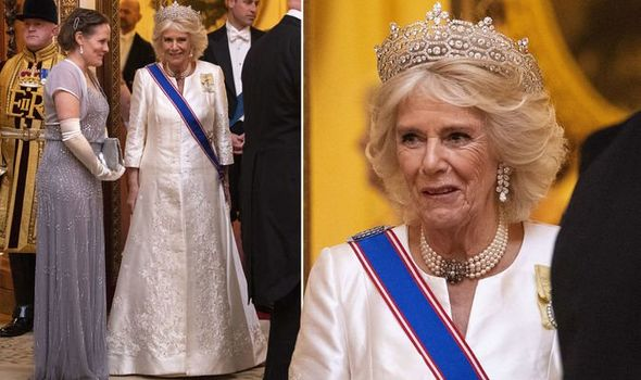 Camilla Parker Bowles stuns in Queen's £3million Greville tiara at Buckingham Palace 1216161 1