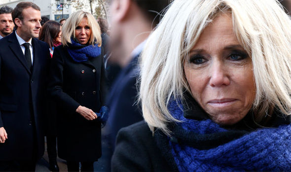 Wonderful! Brigitte Macron Wraps Up Warm As She Pays Memory To Victims Of The Paris Terror Attacks