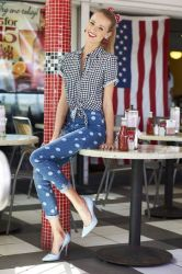50s american inspired jeans spring trends express inspiration trend shalice wearing season clive polka dot super these
