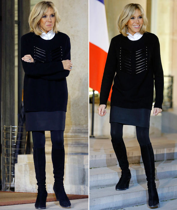 Amazing! Brigitte Macron Greets UNICEF Guests At Elysee Palace Wearing Oversized Navy Jumper