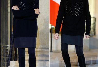 Brigitte Macron greets UNICEF guests at Elysee palace wearing oversized navy jumper