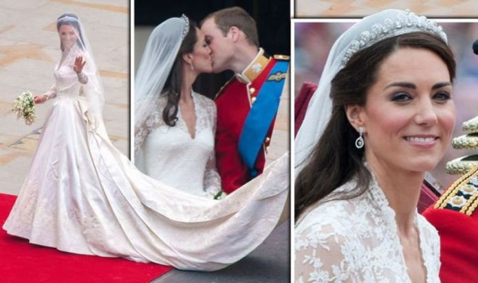Something old, new and borrowed: Kate Middleton wore £250,000 dress for wedding to William