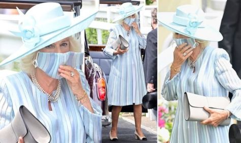 Camilla makes faux pas with matching mask as she steps out in new blue coat at Royal Ascot
