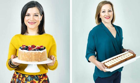 Natalia and Nicola holding cakes