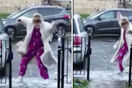 viral video woman slips ice