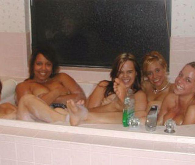 Five Girls Topless In Bath