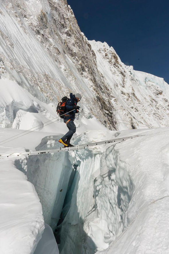 Ben crossing a ravine