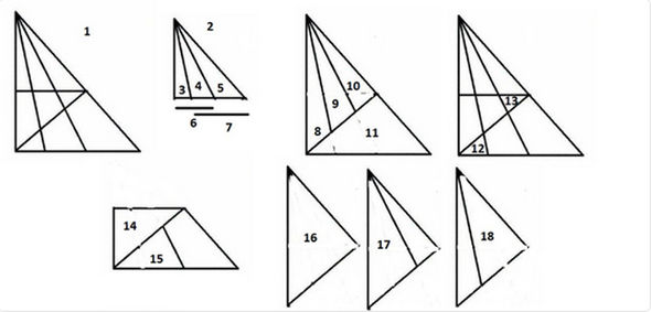 Brainteaser asking users to find 18 triangles in image