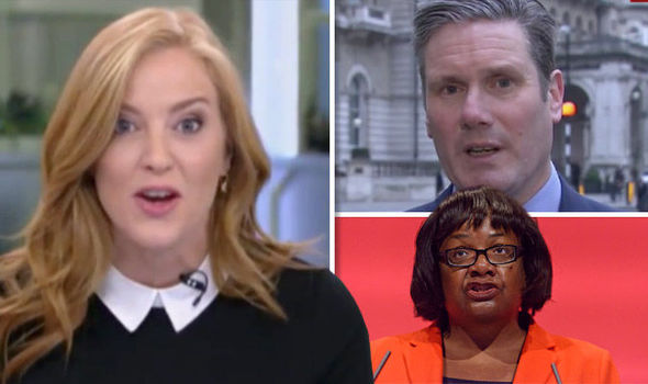 Diane Abbott, Sir Keir Starmer and Sarah-Jane Mee