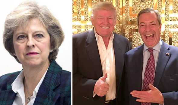 Image result for image of theresa may nigel farage and donald trump