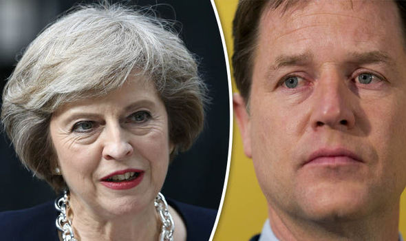 Theresa May and Nick Clegg