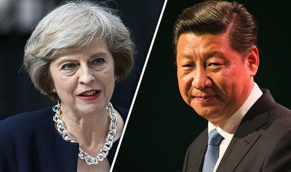 Theresa May and Chinese President Xi Jinping
