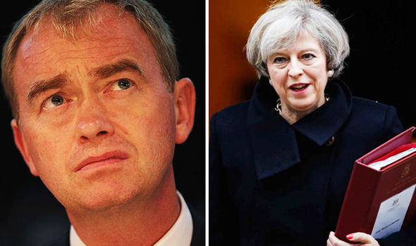 Theresa May Tim Farron