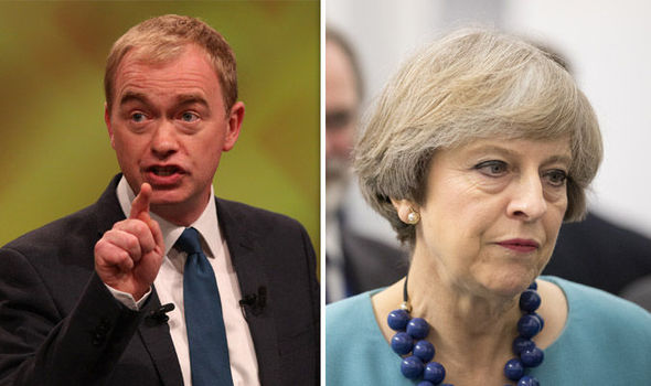 Tim Farron and Theresa May