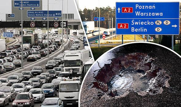 A gridlocked motorway in Britain