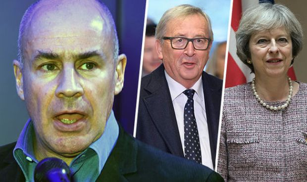 Jonas Eliasch, Theresa May and Jean-Claude Juncker