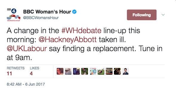 BBC Woman's Hour confirmed Ms Abbott has been taken ill