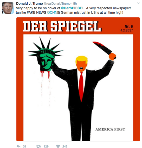 Donald Trump's Twitter post about Der Spiegel