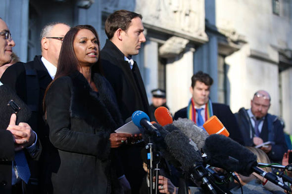Gina Miller talking to the press
