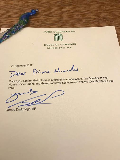 Letter from James Duddridge