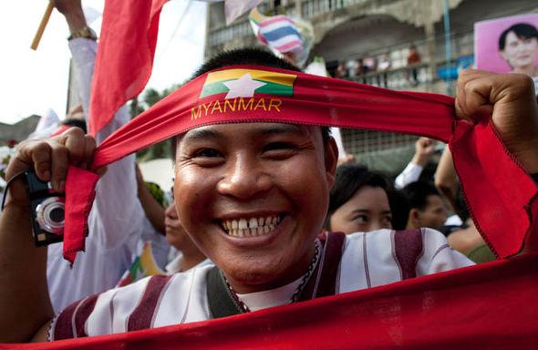 Myanmar political rally