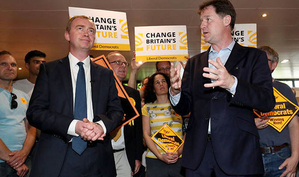 Nick Clegg (R) with Liberal Democrat leader Tim Farron